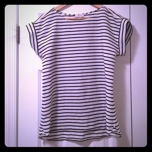 Loft Striped High Low Short Sleeve Top